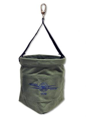 "Estex 6 1/2"" x 8 3/4"" Military Green Canvas Nut & Bolt Bag w/Tapered Bottom, Web Sling, & Quick Release Snap"
