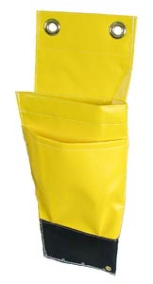 "Buzzline 10"" x 19"" Yellow Vinyl Aerial Tool Holder w/2 Pockets & Grommet Flap"