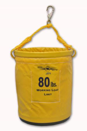 "Estex 12"" x 15"" Yellow Vinyl Nosebag w/Plastic Bottom, Polypropylene Handle, & Snap"
