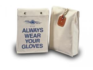 "Estex 8"" x 2"" x 12"" Canvas Low Voltage Glove Bag w/Snap Fasteners, Quick Release Snap On Back, & Leather Reinforcement"