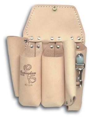 "Buckingham Double Back Holster w/5 Pockets & 2-way Knife Snap- 10 3/4"" x 8""-BROWN"