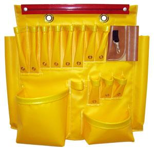 "Buzzline 24"" x 22-1/2"" Yellow Vinyl Aerial Apron w/17 Pockets, Hammer Loop, Snap, & Magnetic Strip"