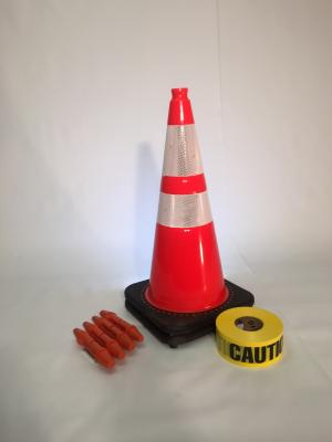 "T-CapMag Barricade Kit #1, Containing (2) 28"" Cones, (4) T-CapMags & (1) 1000'/Roll of Caution Barricade Tape"