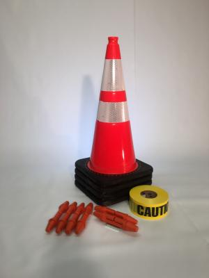"T-CapMag Barricade Kit #5, Containing (4) 28"" Cones, (2) T-CapMags (4) T-Cap & (1) 1000'/Roll of Caution Barricade Tape"