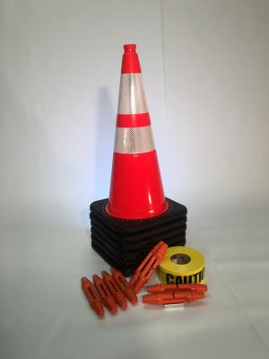 "T-CapMag Barricade Kit #6, Containing (6) 28"" Cones, (2) T-CapMags (6) T-Cap & (1) 1000'/Roll of Caution Barricade Tape"